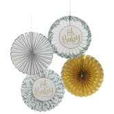 Oh Baby Gold & Leaves Paper Fans