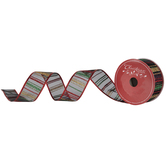 Red, Green & Gold Striped Wired Edge Sheer Ribbon - 1 1/2""