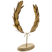 Gold Glitter Laurel Wreath Metal Decor