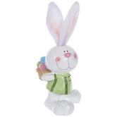 Carved Bunny With Fabric Ears Holding Basket