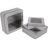 Silver Square Tin Boxes