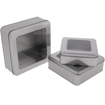 Silver Square Tin Boxes