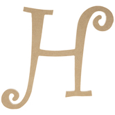 Curly-Q Wood Letter H - 8""