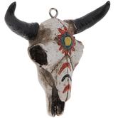 Painted Bull Skull Ornament