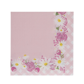 Pink Flowers & Gingham Napkins - Small