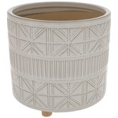 White Geometric Flower Pot