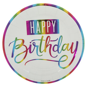 Rainbow Foil Happy Birthday Paper Plates - Large