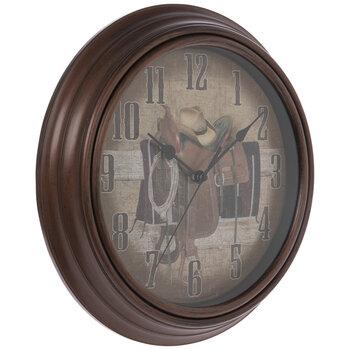 Brown Cowboy Hat & Saddle Wall Clock