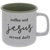 Coffee & Jesus Served Daily Speckled Mug