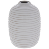 White Ridged Round Vase