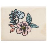 Flower Corner Rubber Stamp