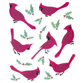Cardinals & Holly Glitter Stickers