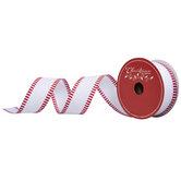 Red Striped & White Glitter Wired Edge Ribbon