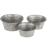 Galvanized Metal Round Container Set
