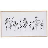 Black Floral Stems Wood Wall Decor