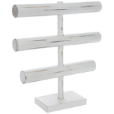 Distressed White Three-Tier Jewelry Holder