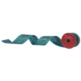 Turquoise & Gold Glitter Wired Edge Ribbon - 2 1/2""