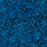 Navy Paisley Cotton Calico Fabric