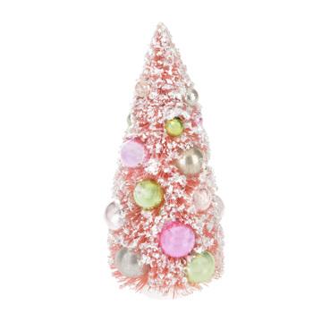 Pink Flocked Sisal Tree With Ornaments - Medium