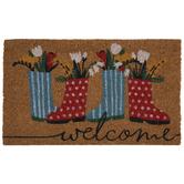 Welcome Rainboots & Flowers Doormat