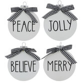 Peace & Jolly Bow Round Ornaments