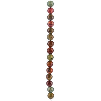 Red & Green Dyed Round Agate Bead Strand