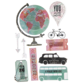 Watercolor Travel 3D Stickers