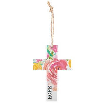 Hope Floral Wood Wall Cross