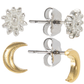 10K Gold Plated & Sterling Silver Plated Desert Flower & Moon Earrings