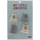 Mini Gray & White Reindeer Ornaments