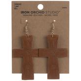 Embossed Cross Leather Earrings