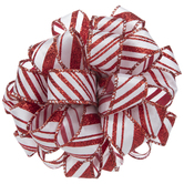 White & Red Glitter Striped Ribbon Bow