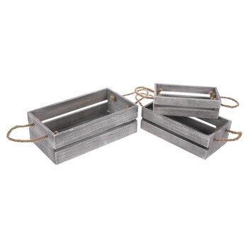Gray Wood Crate Set