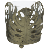 Gold Leaf Metal Candle Holder
