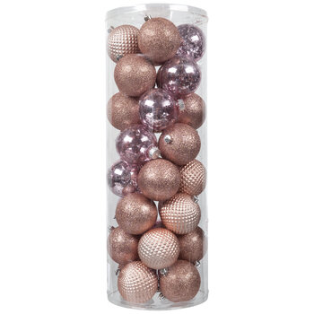 Pink Matte, Glitter & Mercury Glass Ball Ornaments