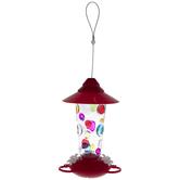 Multi-Color Polka-Dot Glass Hummingbird Feeder