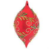 Red Finial Ornament With Glittered Leaves