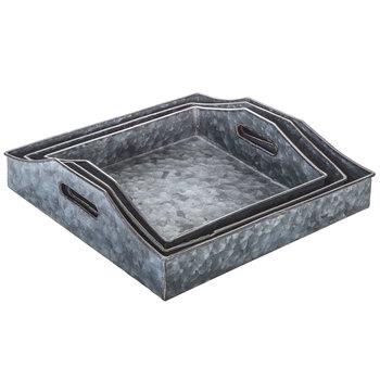 Square Galvanized Metal Tray Set