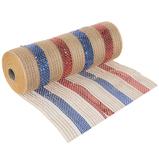 "Red, Blue & Jute Striped Deco Mesh - 10"""