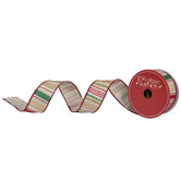 """Red, Green & Gold Striped Wired Edge Ribbon - 1 1/2"""""""