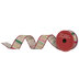 Red, Green & Gold Striped Wired Edge Ribbon - 1 1/2
