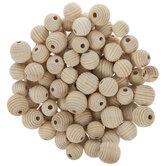 Mixed Corrugated Round Wood Beads