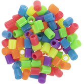 Assorted Neon Oblong Plastic Beads