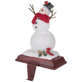 Glitter Snowman Metal Stocking Holder