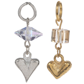 10K Gold & Sterling Silver Plated Heart & Rhinestone Charms