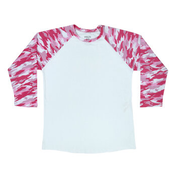 Pink Camo Sleeve Adult Baseball T-Shirt - Small