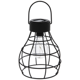 Light Up Black Cage Metal Lantern