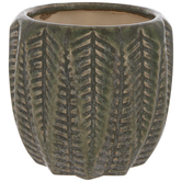 Green Textured Leaf Flower Pot