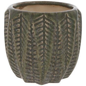 Green Textured Leaf Flower Pot
