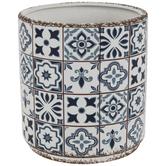 Blue & White Mosaic Flower Pot